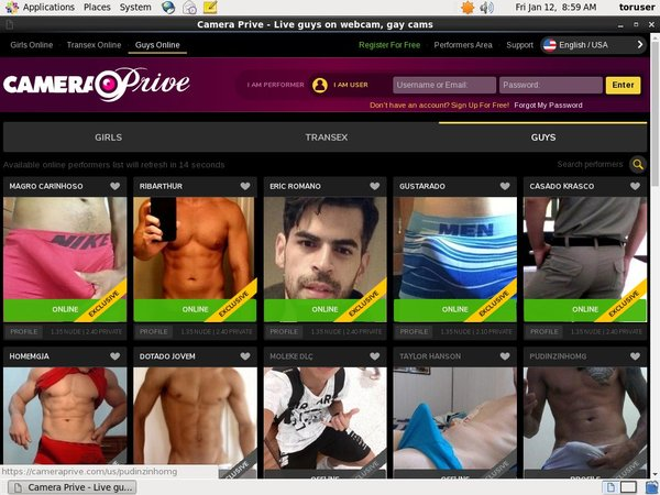 Make CameraPrive Gay Webcams Account